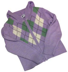 Trousers Up Lavender Green Argyle Hoodie Sweater