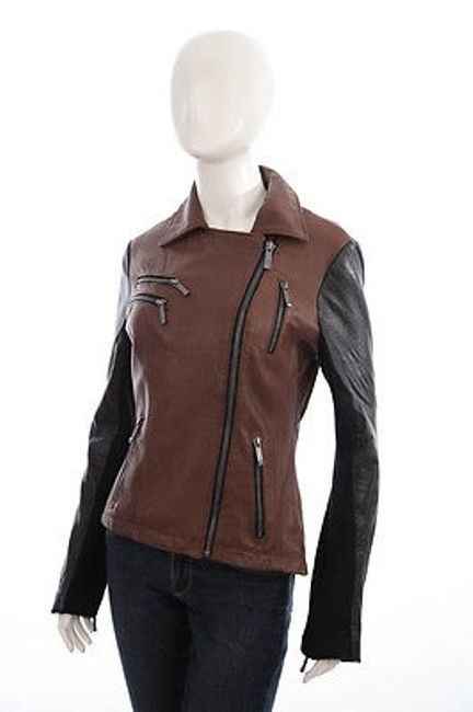 Item - Michael  Brown Black Leather Moto Biker Asymmetric Zip Coat Jacket