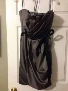 Vera Wang Charcoal Short Draped Satin Dress With Sash Style Vw360017 Dress