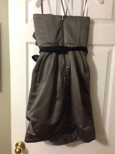 Vera Wang Charcoal Satin Short Draped Sash Style Vw360017 Modern Bridesmaid/Mob Dress Size 0 (XS)