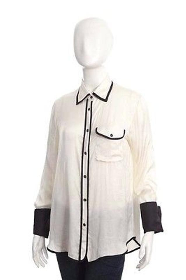 4665679eba6516 Rag & Bone Rag Bone White Silk Black Trim Pajama Long Sleeve Dress Shirt  Top Blouse 2s