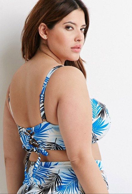 Forever 21 Forever 21 Plus Front Tropical Corset Top High Waisted Bikini Set