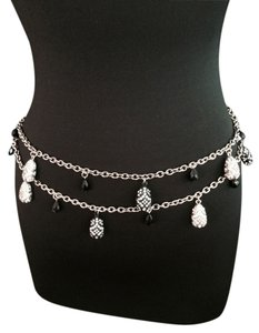 St. John St. John Silver, Black and Crystal Evening Belt 31 inches
