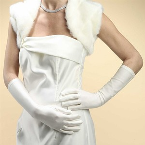 Mariell White Below Elbow Or Prom In Matte Satin 224gl-w Gloves