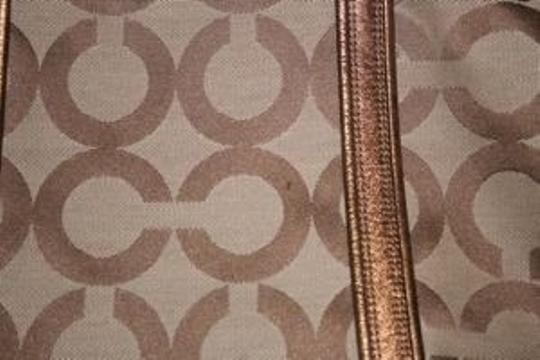 Coach Signature Jacquard Leather Tote in tan