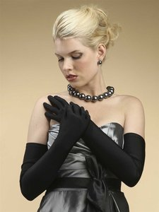 Mariell Jet Opera Length Or Prom Matte Satin 824gl-je Gloves