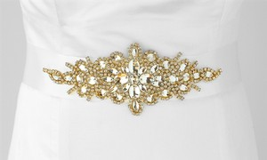 Mariell Opulent White Satin Bridal Sash With Gold And Crystal Starburst 3886sh-w-g