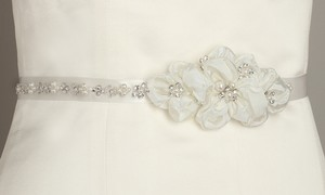 Mariell Pearl And Crystal Flower Cluster Bridal Sash - Ivory 3388bt-i