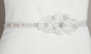 Mariell Pearl And Crystal Flower Cluster Bridal Sash - White 3388bt-w