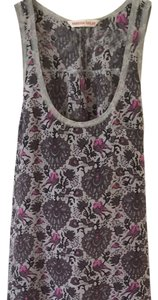 Rebecca Taylor Lightweight Silk Floral Top Gray