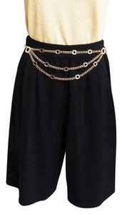 St. John Knits Santana Pleated High-waisted City Skort Shorts Black
