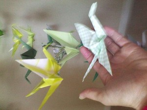 Shades Of Green and Yellow - Mixed Pattern Paper Was Used 100 Origami Cranes