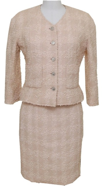 Chanel Chanel Pale Pink 2pc Boucle Jacket Blazer Skirt Suit