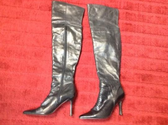 Two Lips Vintage Leather Knee High Thigh High Black Boots