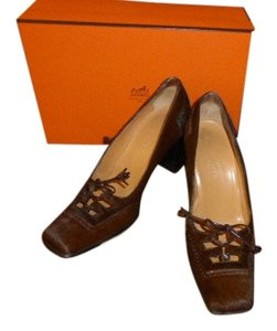 Hermès DARK BROWN CALF SKIN/HAIR Pumps