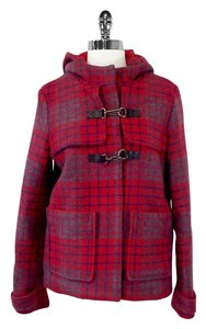 Maje Plaid Wool Duffle Coat