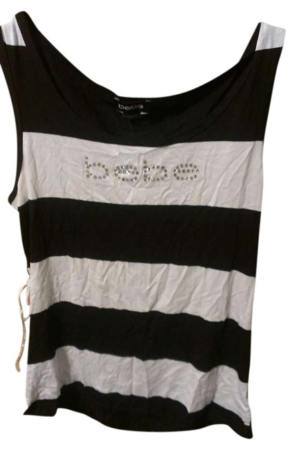 bebe Striped Top Black and White