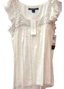 French Connection Top White Beaded