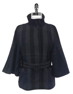 Theory Plaid Wool Belted Navy & Black Jacket
