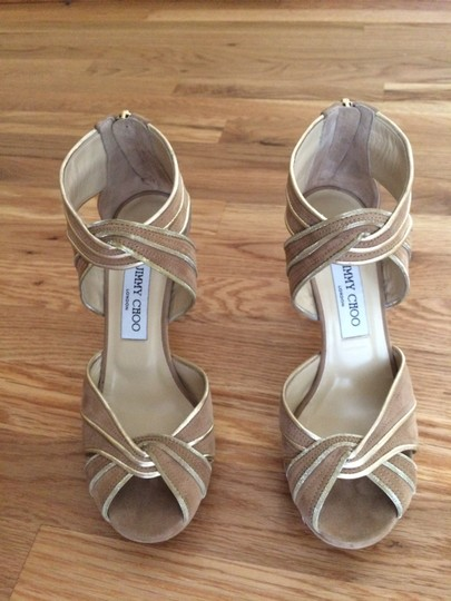 Jimmy Choo Gold/nude Platforms