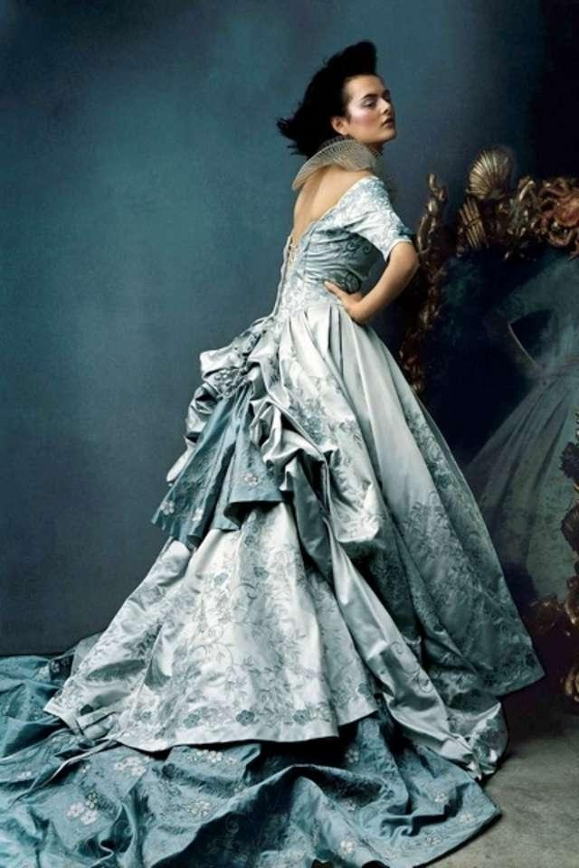 St. Pucchi French Blue / Silver Pure Silk Satin 9211 Formal Wedding ...