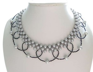 classic grey pearls necklace