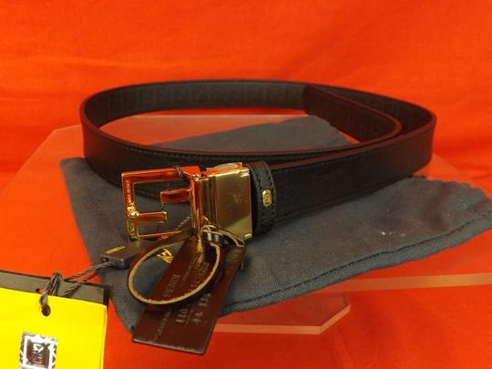 Fendi REVERSIBLE LEATHER ZUCCA FF BLACK LOGO BUCKLE BELT 110 44