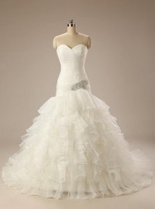 Handmade Sweetheart Pleated Ball Gown White Organza Wedding Dress Wedding Dress