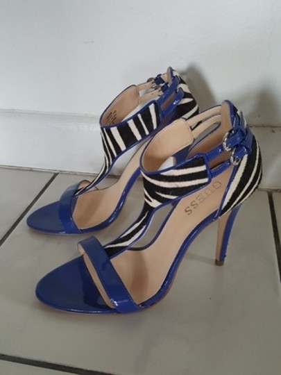 Guess By Marciano Patent Leather Fuax Animal Hair Zebra Print Cobalt Blue Sandals