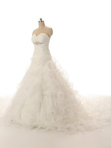 Handmade Modern Sweetheart Ball Gown Organza With Beaded Wedding Dress Wedding Dress