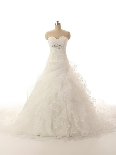 White Organza Satin Handmade Sweetheart Ball Gown with Beaded Modern Wedding Dress Size 4 (S)