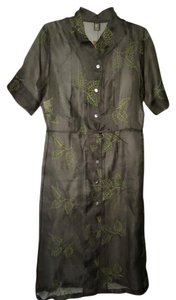 Patina short dress Gray and Green Sheer Mandarin Collar Embroidered Nature Cover Up Tunic on Tradesy