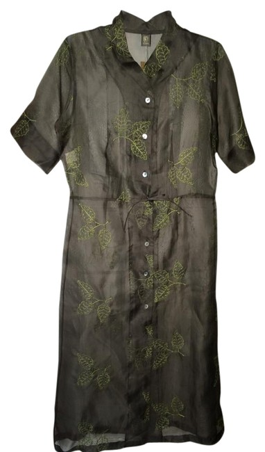 Preload https://item2.tradesy.com/images/gray-and-green-sheer-mandarin-collar-embroidered-nature-cover-up-tunic-knee-length-short-casual-dres-3809866-0-0.jpg?width=400&height=650