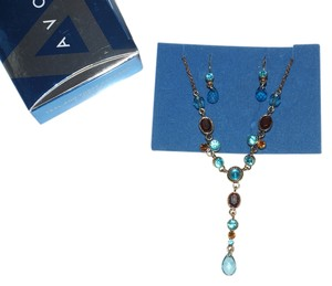 Avon Avon Teal & Topaz Colored Y Necklace & Pierced Earrings Gift Set