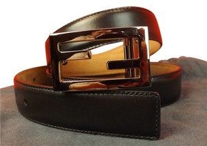 Fendi BLACK LEATHER SILVER TONE FF MESSENGER BUCKLE BELT 105 42