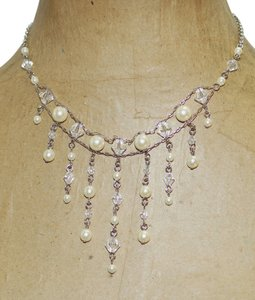 Avon Avon Cream Pearls Lucite Crystal Pearlesque Waterfall Bib Statement Runway Necklace 15-18