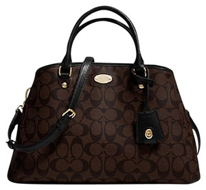 Coach Satchel in Black and Brown Monogram