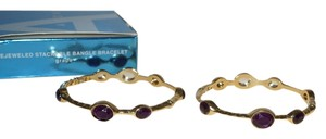 Avon Avon Bejeweled Stackable Bangle Bracelet Grape Purple Gold Tone Stretchy 7