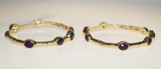 "Avon Avon Bejeweled Stackable Bangle Bracelet Grape Purple Gold Tone Stretchy 7"" Bangle"