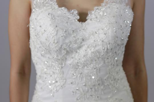 White Lace Satin V Neck with Crystal Beaded Mermaid Open Deep V Back Bridal Gown Modern Wedding Dress Size 4 (S)
