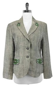 Etro Herringbone Linen Embroidered Blazer