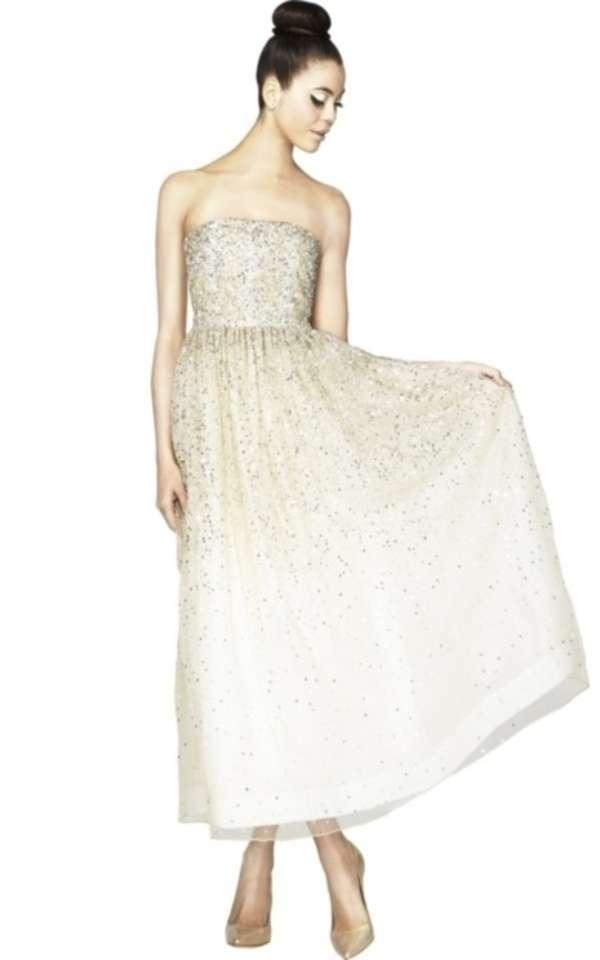 Alice + Olivia Ivory Silk Combo Milly Strapless Sequin Ball Gown ...