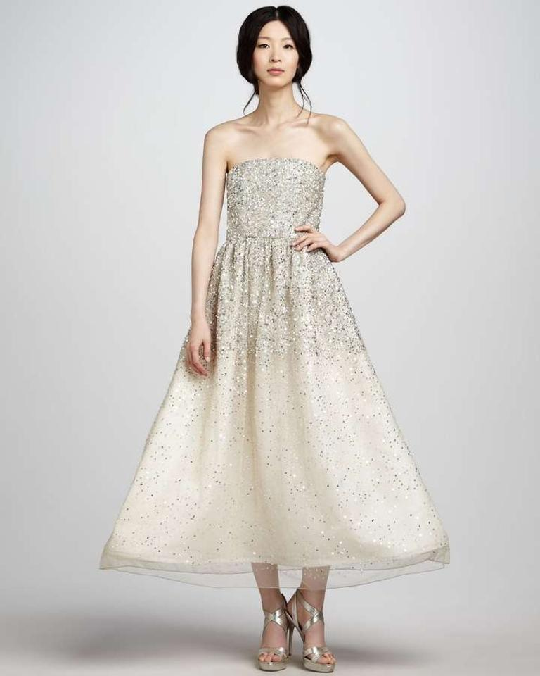 Vintage Wedding Dress Size 8: Alice + Olivia Ivory Silk Combo Milly Strapless Sequin
