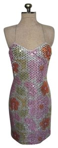 Masquerade Sequins Mod Strappy Twiggy Short Mini Bodycon Fitted Vintage Dress