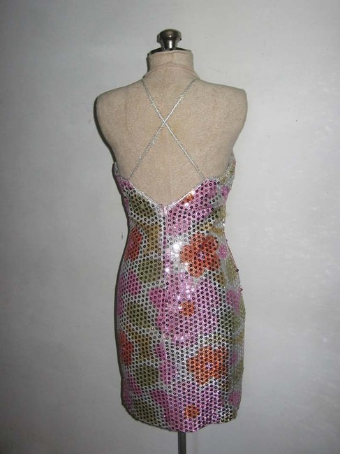 Masquerade Sequins Strappy Twiggy Daisies Short Mini Bodycon Fitted Vintage Dress