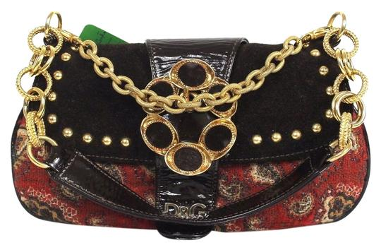 Dolce&Gabbana D&g Fabric Leather Patent Leather Small Gold Chain Shoulder Bag