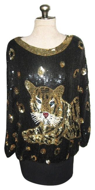 Other Tiger Sequins Vintage Tunic Micro Mini Beads Dress