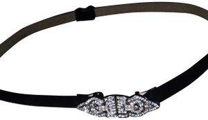 Ralph Lauren Black Suede Leather Ralph Lauren Embellished Rhinestone Belt