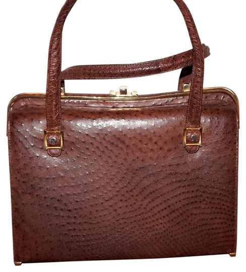 Preload https://img-static.tradesy.com/item/3811195/rare-vintage-couture-designer-expandable-genuine-handbag-purse-brown-ostrich-leather-satchel-0-0-540-540.jpg