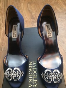 Badgley Mischka Salsa Navy Crystal Charm Peep Toe. Wedding Shoes